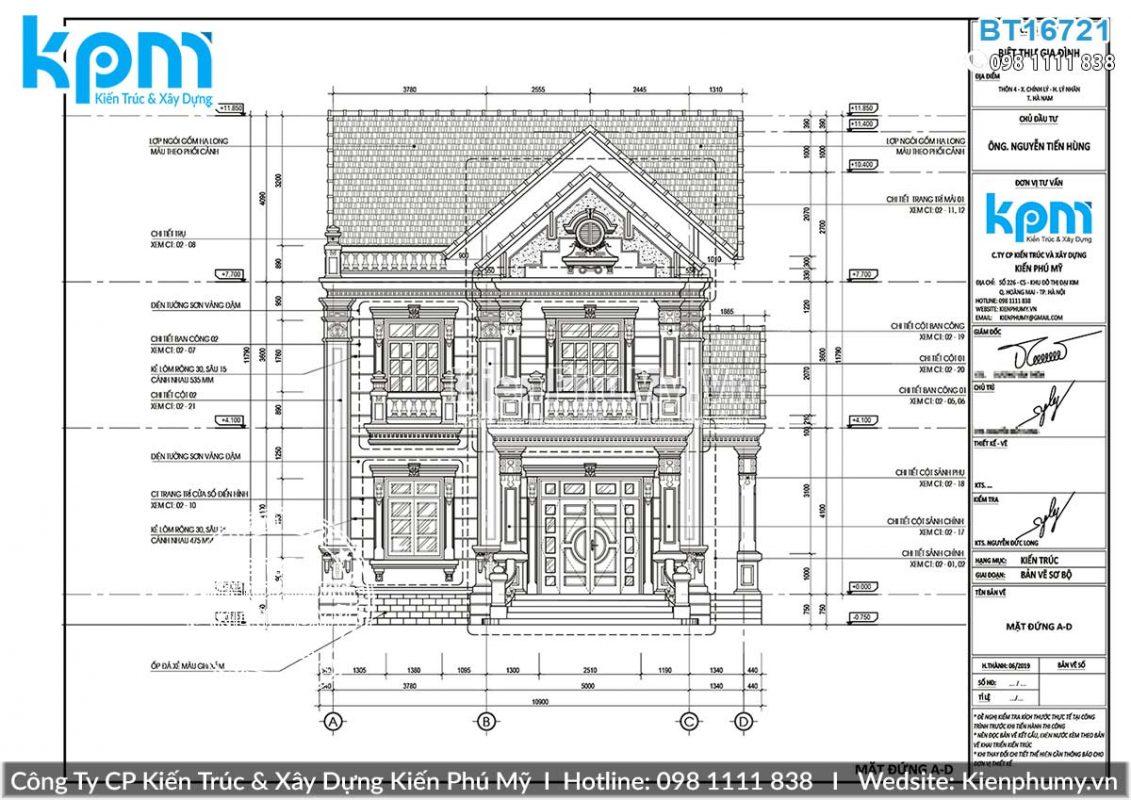 Bản vẽ chi tiết mẫu nhà 2 tầng tân cổ điển mái dốc tại Hà Nội