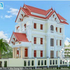 Kiến trúc mặt bên với hình khối chắc khỏe, ấn tượng của căn biệt thự cổ điển 3 tầng