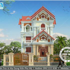 Thiết kế mặt tiền 10m bề thế của căn biệt thự cổ điển 3 tầng