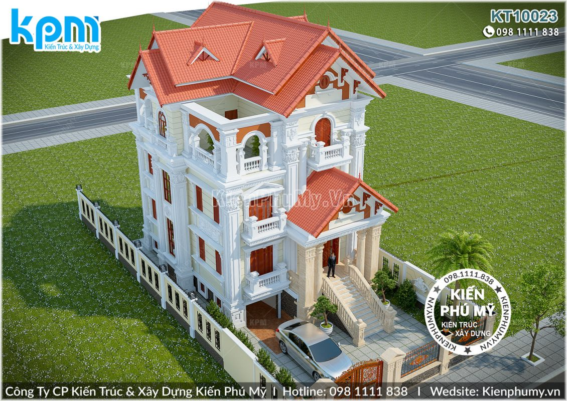 Biệt thự cổ điển 3 tầng với hệ mái thái ấn tượng
