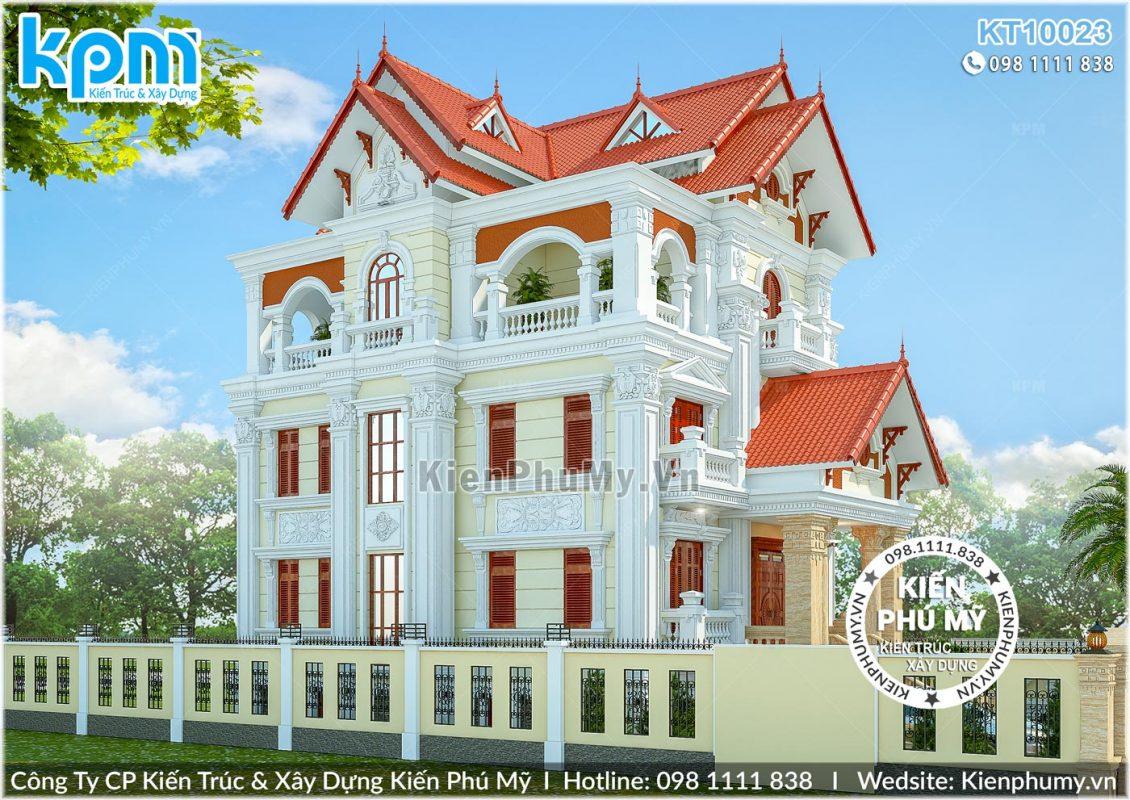 Thiết kế biệt thự cổ điển 3 tầng mặt tiền 10m