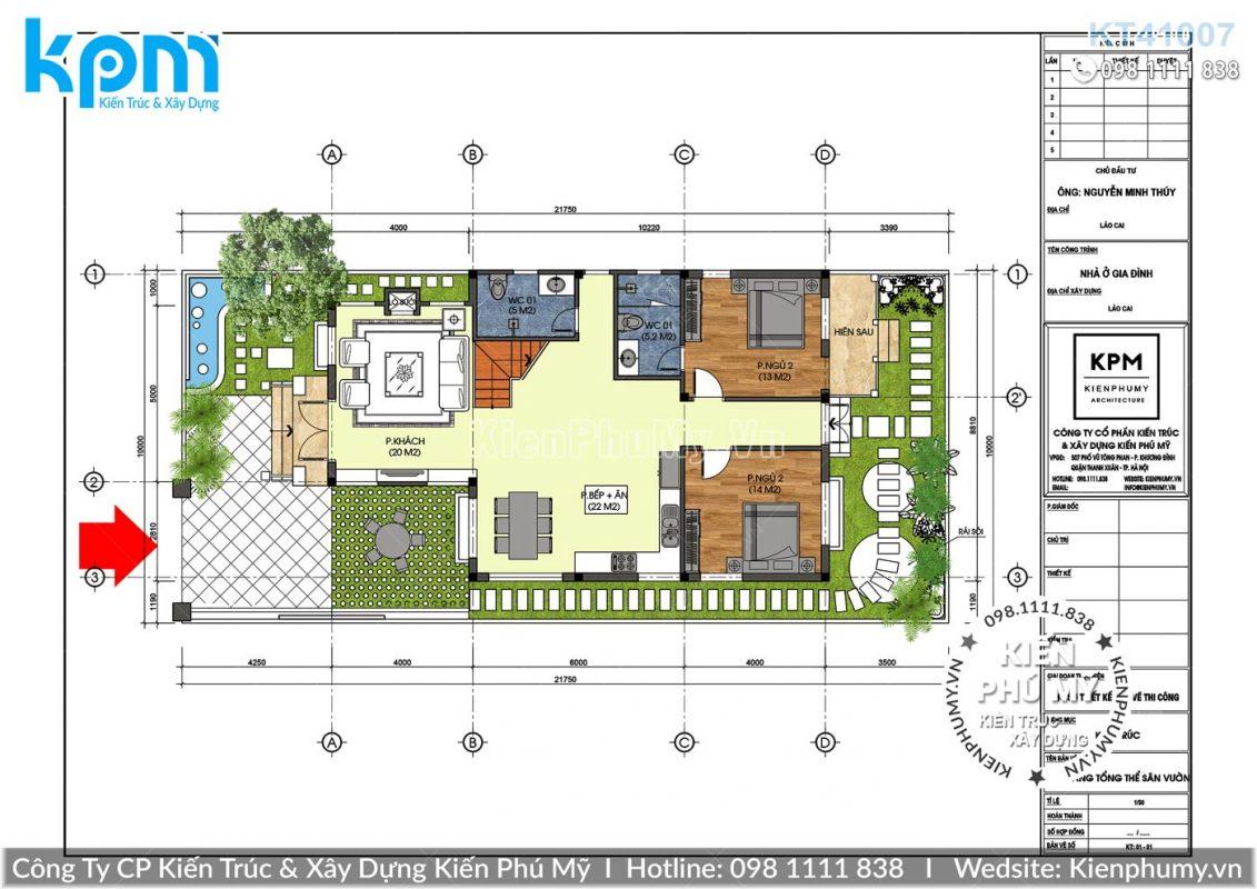 Thiết kế biệt thự vườn 1 tầng 1 lửng mái thái đẹp