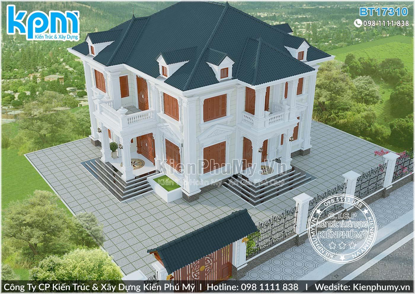 Thiết kế biệt thự tân cổ điển 2 tầng 150m2