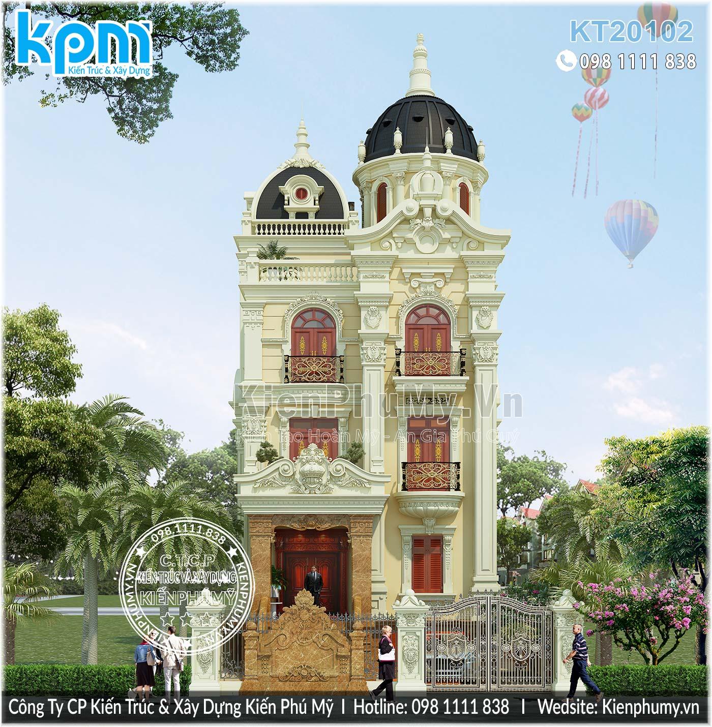 Thiết kế lâu đài 4 tầng cao cấp mặt tiền 8m Hà Nam