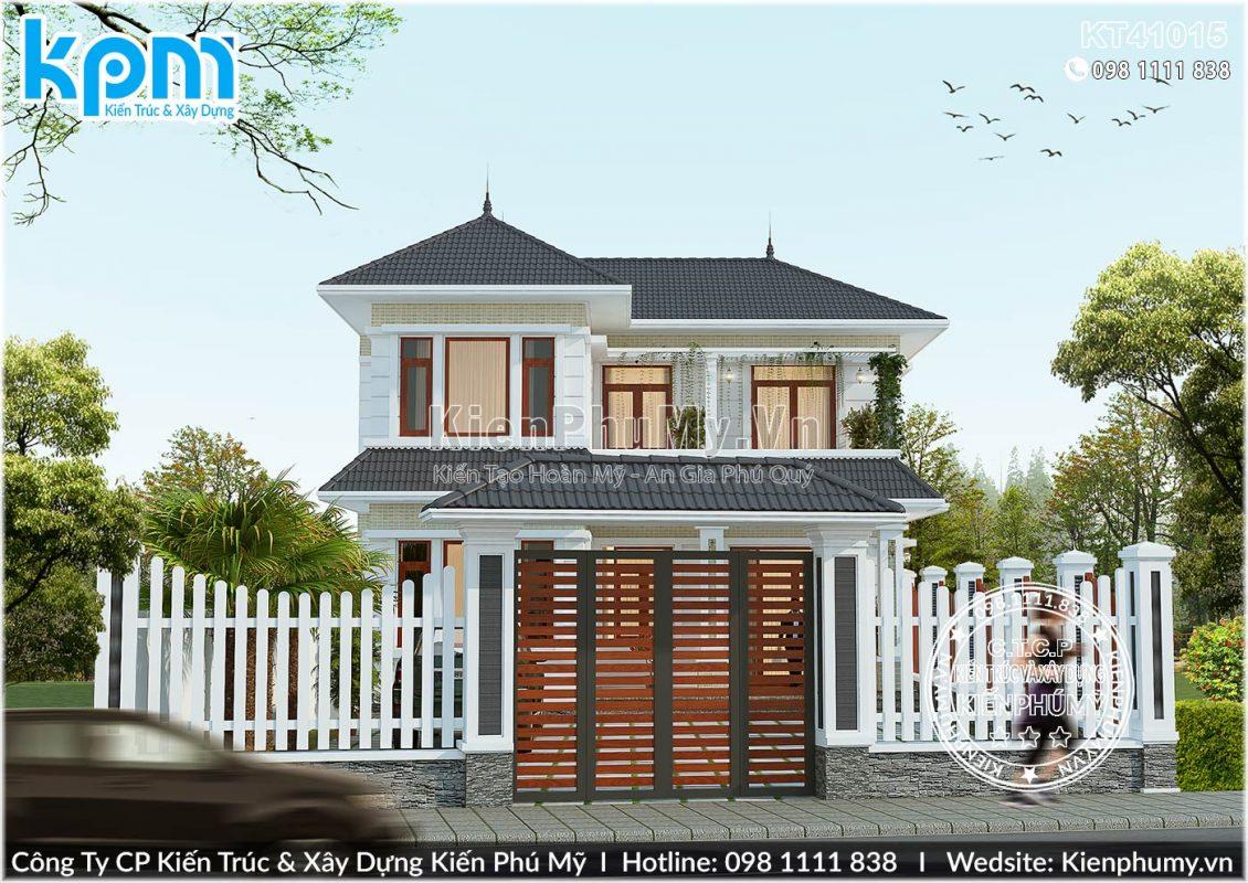 Thiết kế kiến trúc nhà vườn mái thái chữ l 100m2