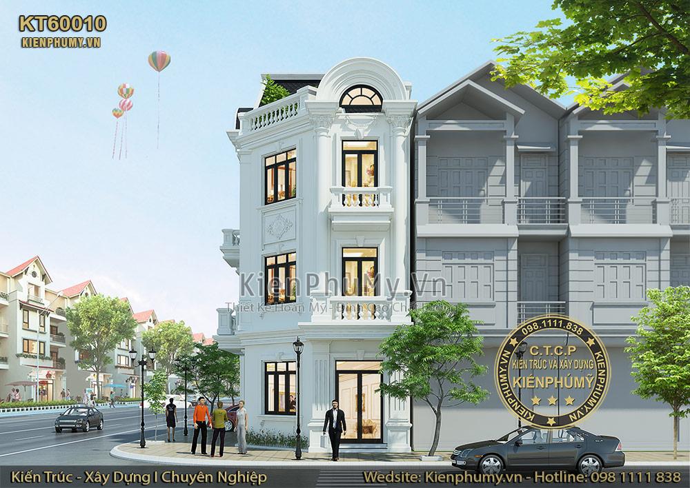Thiết kế mặt tiền rộng 6m của căn nhà lô phố cổ điển 3 tầng 1 tum