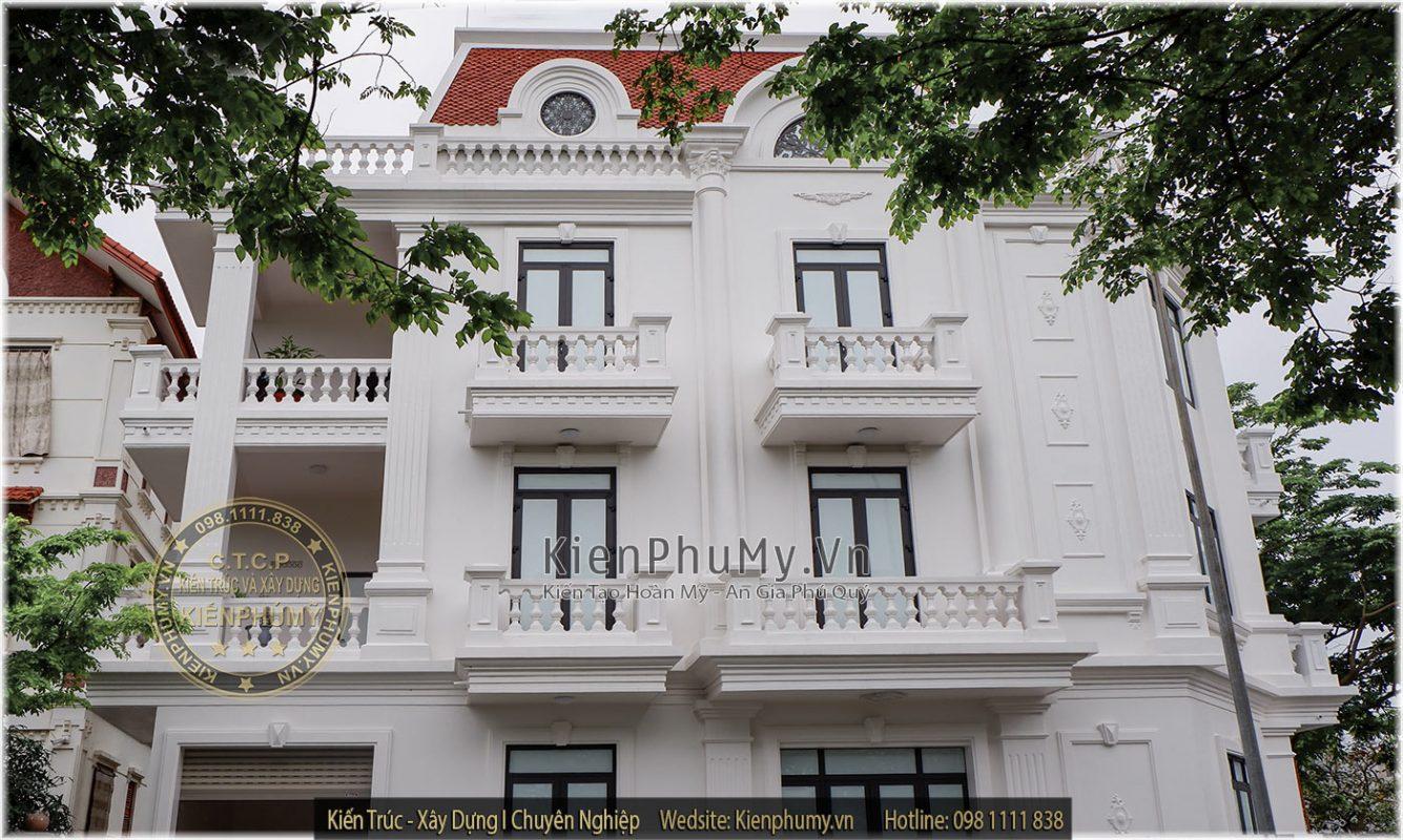 Công trình nhà phố cổ điển 3 tầng thi công thực tế