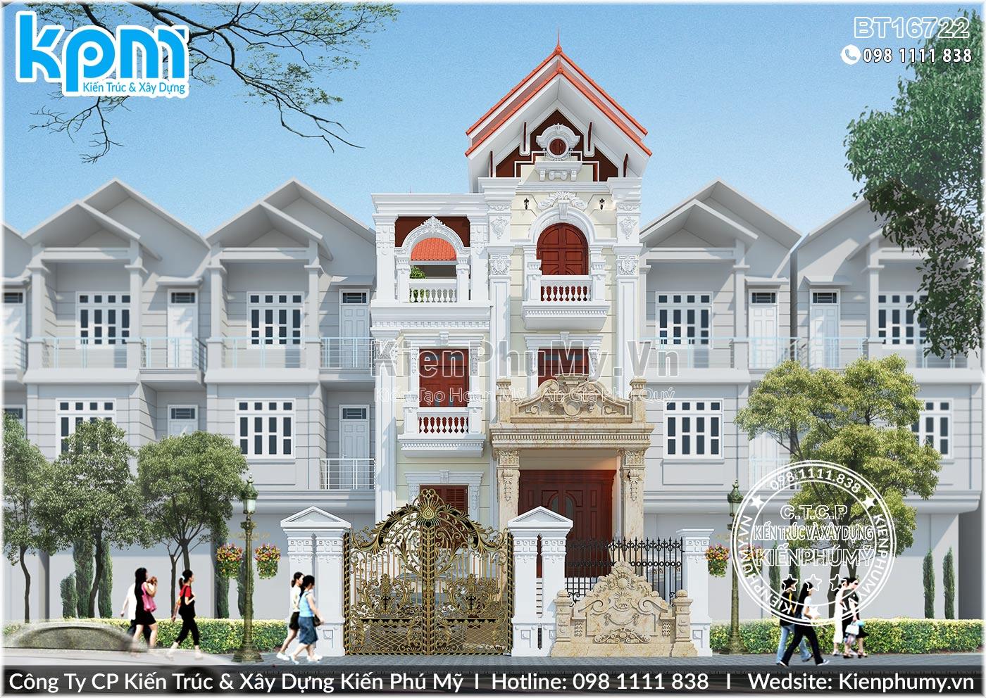 Biệt thự 4 tầng mặt tiền 7m đẹp đẳng cấp với kiến trúc tân cổ điển