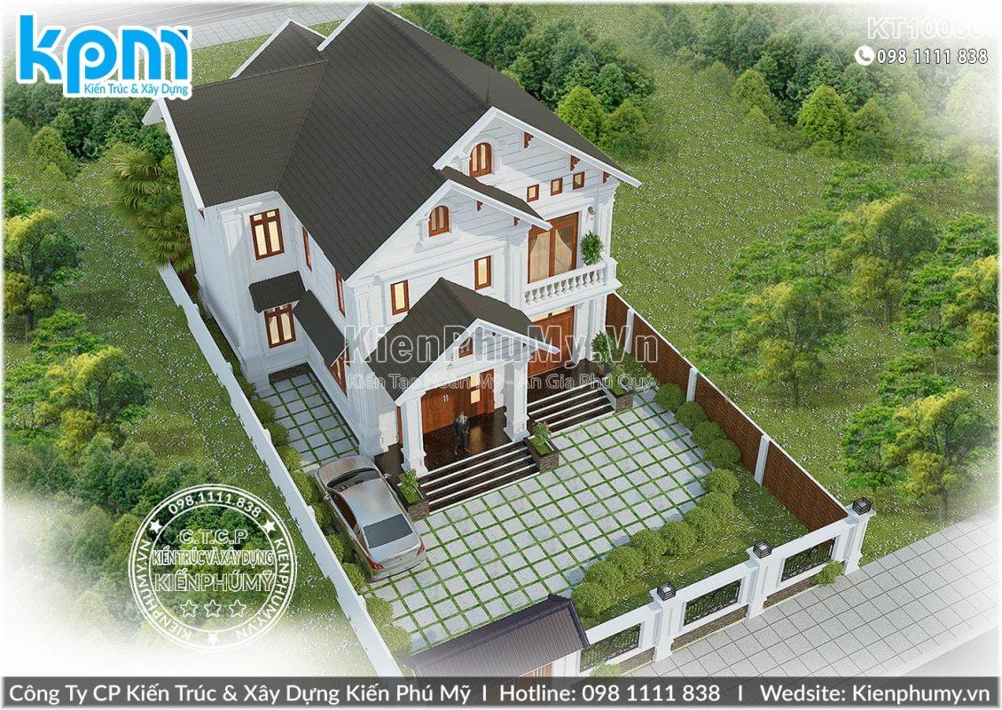 Thiết kế biệt thự 2 tầng mái thái kiến trúc tân cổ điển đẹp