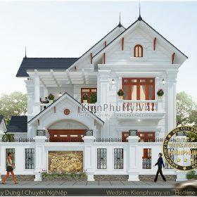 mẫu thiết kế biệt thự 2 tầng kiến trúc pháp đẹp sang trọng tại vĩnh phúc
