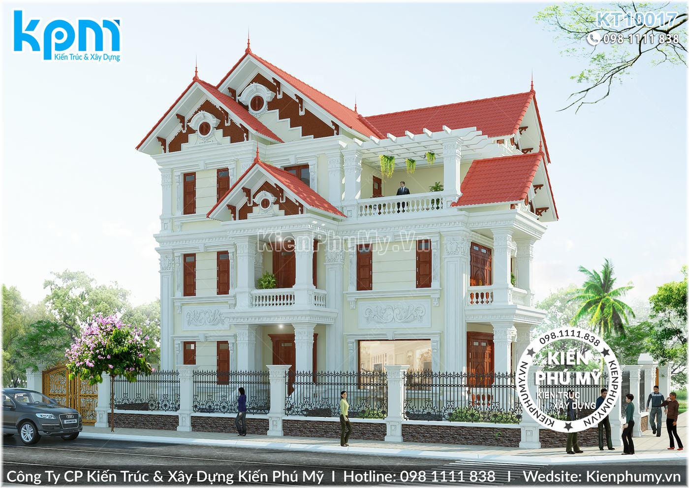 mẫu thiết kế biệt thự mái thái 3 tầng kiến trúc tân cổ điển pháp