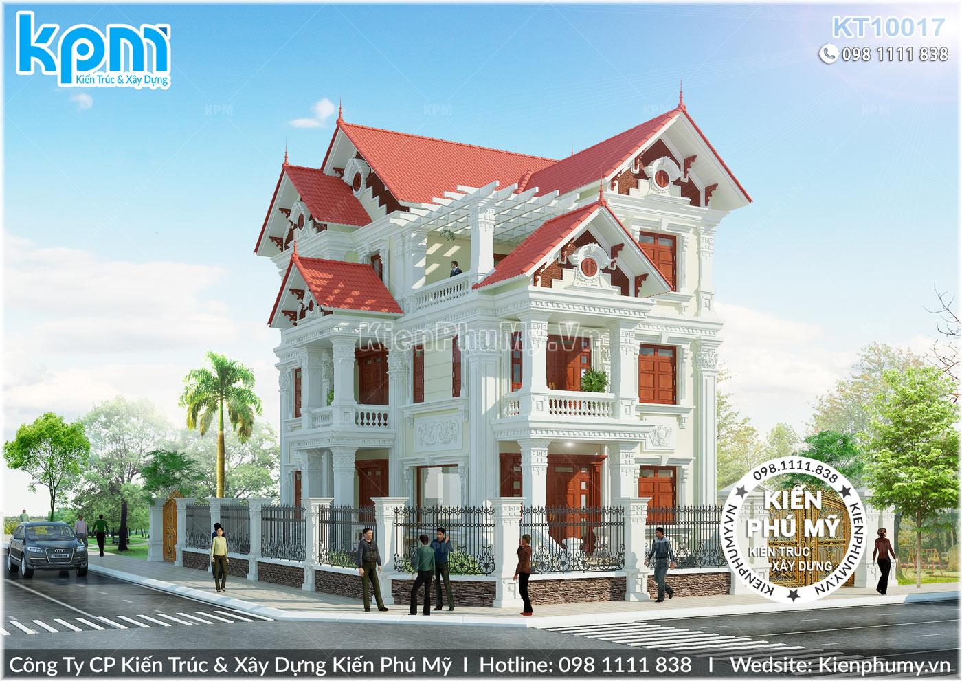 kiến trúc biệt thự tân cổ điển mái thái 3 tầng