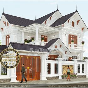 Thiết kế kiến trúc biệt thự đẹp 2 tầng tại vĩnh phúc