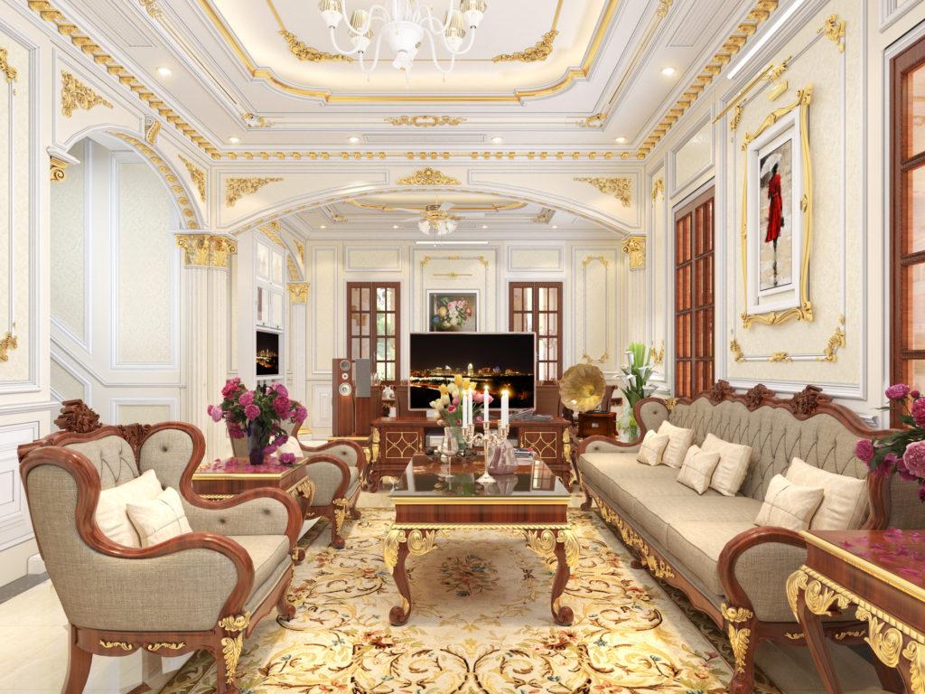 Mẫu nội thất phòng khách tân cổ điển đẹp 01
