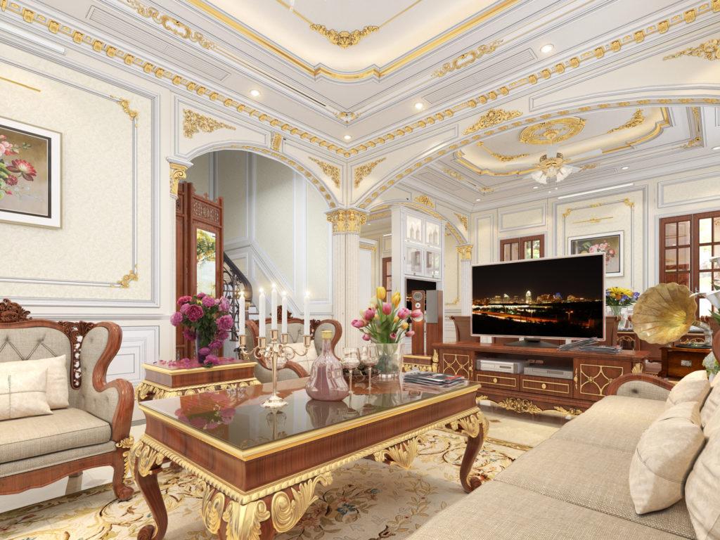 Mẫu nội thất phòng khách tân cổ điển đẹp 02
