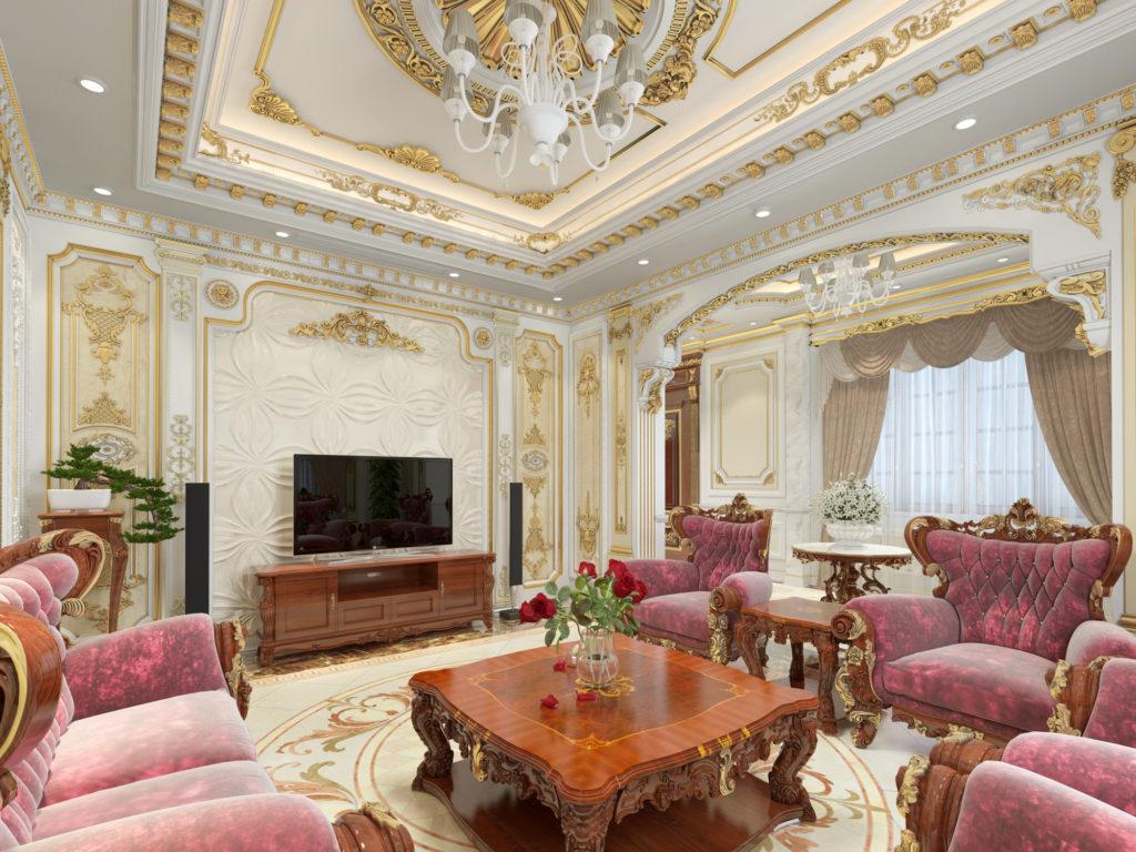 Mẫu nội thất phòng khách tân cổ điển đẹp 04