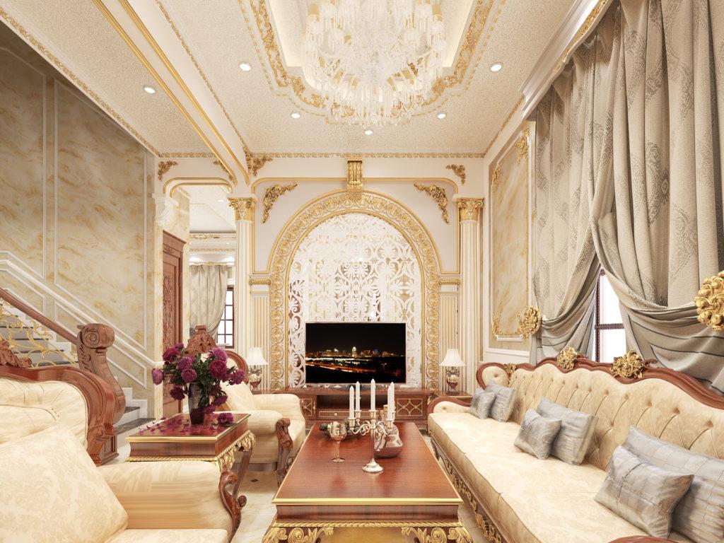 Mẫu nội thất phòng khách tân cổ điển đẹp 05