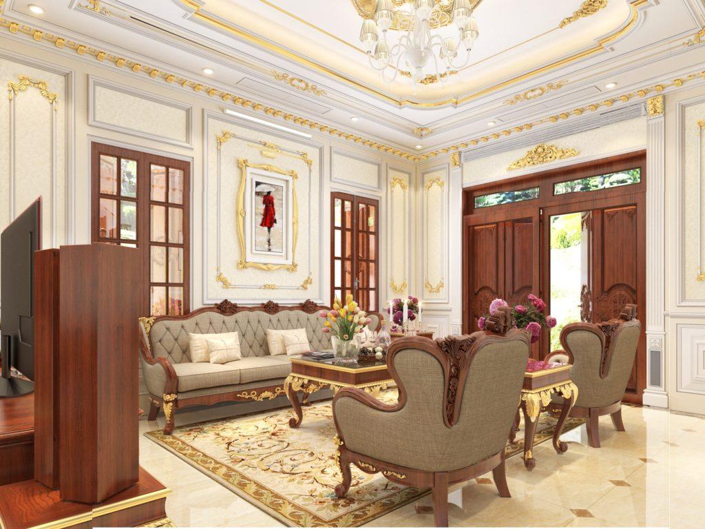 Mẫu nội thất phòng khách tân cổ điển đẹp 06
