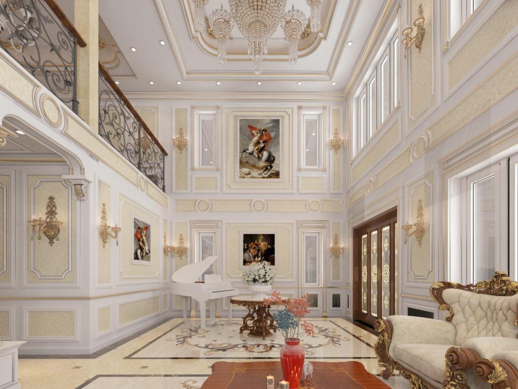 Mẫu nội thất phòng khách tân cổ điển đẹp 11