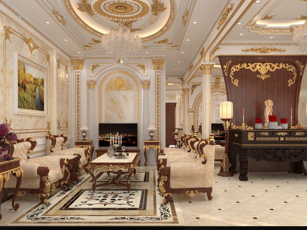 Mẫu nội thất phòng khách tân cổ điển đẹp 10