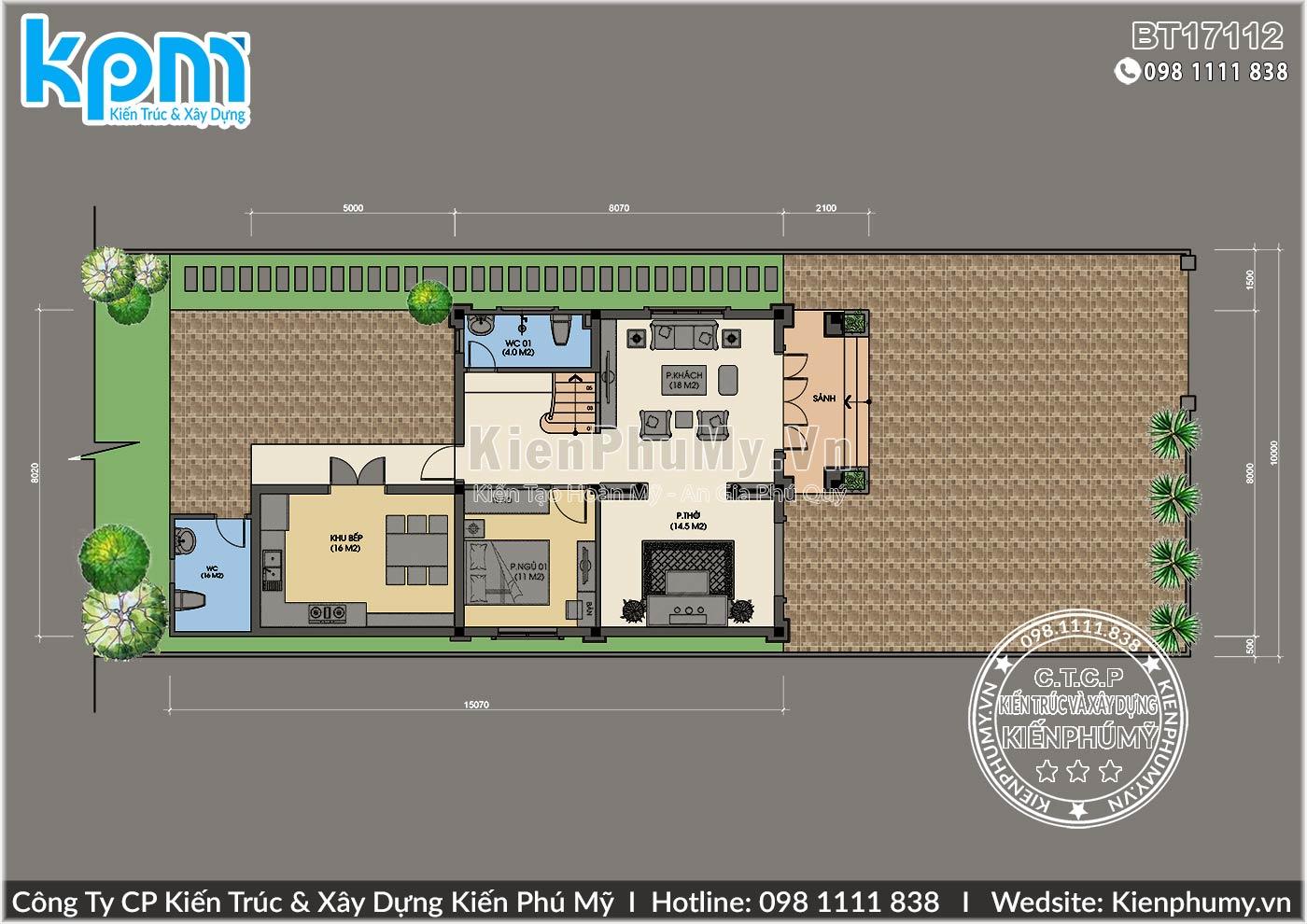 thiết kế biệt thự 2 tầng mái thái diện tích 60m2/sàn
