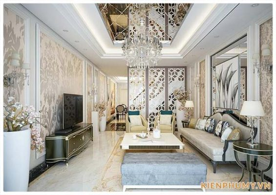 thiết kế nội thất nhà phố đẹp phong cách cổ điển 01