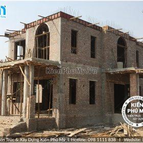 Thiết kế thi công biệt thự lâu đài 2 tầng 1 tum tại Vĩnh Phúc BT18005-02