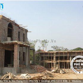 Thiết kế thi công biệt thự lâu đài 2 tầng 1 tum tại Vĩnh Phúc BT18005-03