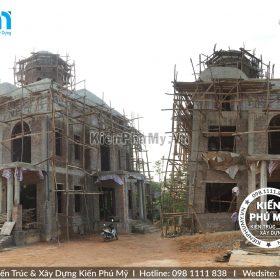 Thiết kế thi công biệt thự lâu đài 2 tầng 1 tum tại Vĩnh Phúc BT18005-04