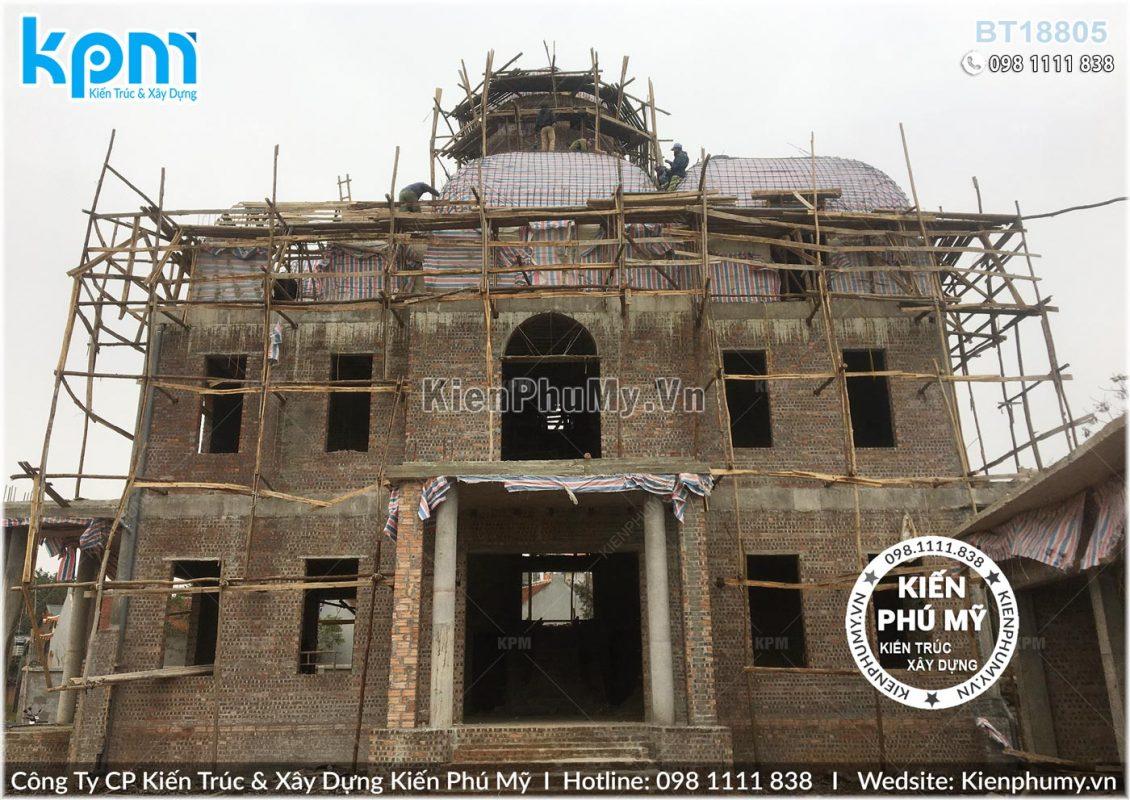 Thiết kế thi công biệt thự lâu đài 2 tầng 1 tum tại Vĩnh Phúc BT18005-05