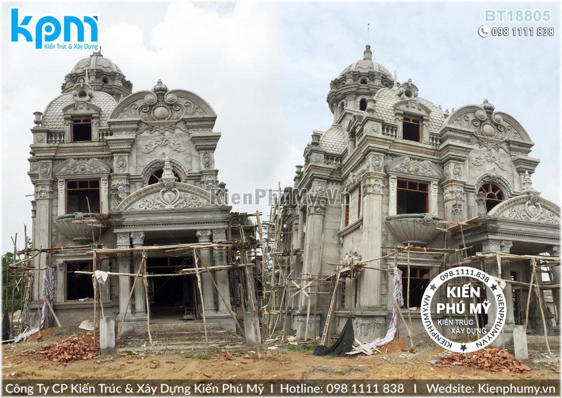 Thiết kế thi công biệt thự lâu đài 2 tầng 1 tum tại Vĩnh Phúc BT18005-06