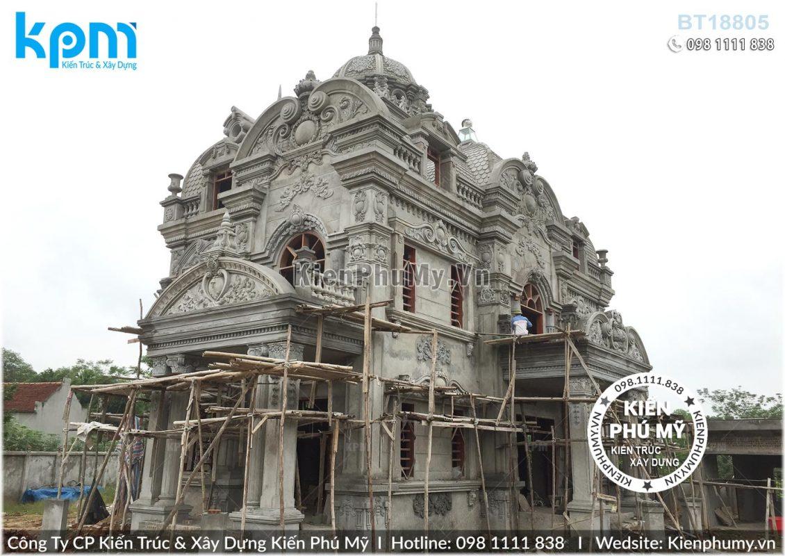 Thiết kế thi công biệt thự lâu đài 2 tầng 1 tum tại Vĩnh Phúc BT18005-07