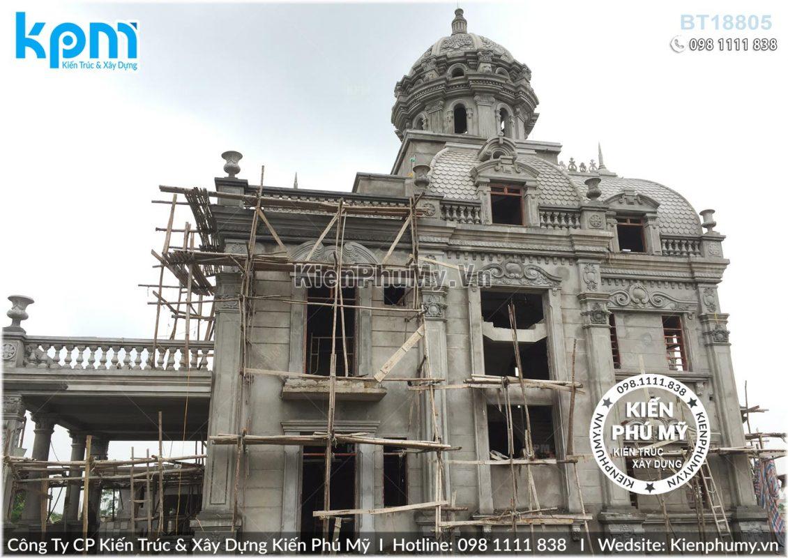Thiết kế thi công biệt thự lâu đài 2 tầng 1 tum tại Vĩnh Phúc BT18005-08
