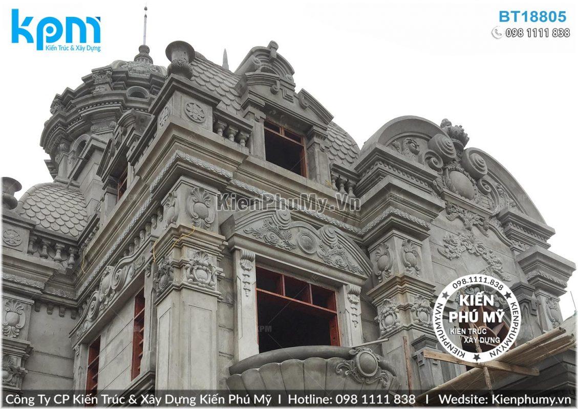 Thiết kế thi công biệt thự lâu đài 2 tầng 1 tum tại Vĩnh Phúc BT18005-09