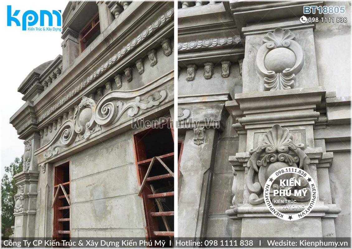 Thiết kế thi công biệt thự lâu đài 2 tầng 1 tum tại Vĩnh Phúc BT18005-10