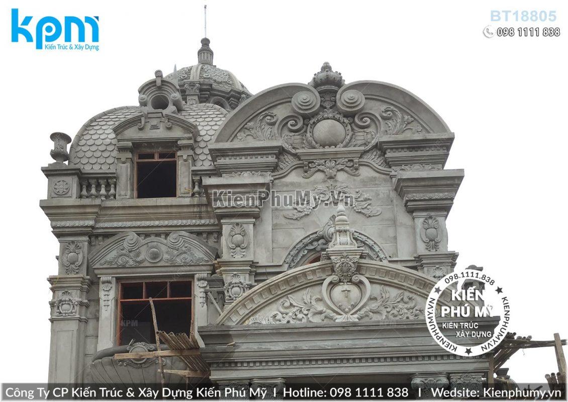 Thiết kế thi công biệt thự lâu đài 2 tầng 1 tum tại Vĩnh Phúc BT18005-11