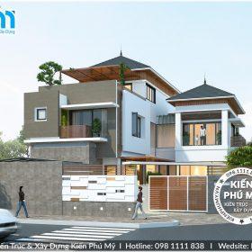 Thiết kế biệt thự hiện đại 3 tầng có bể bơi