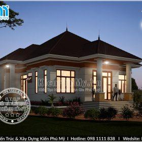 Thiết kế nhà vườn mái thái 1 tầng diện tích 180m2