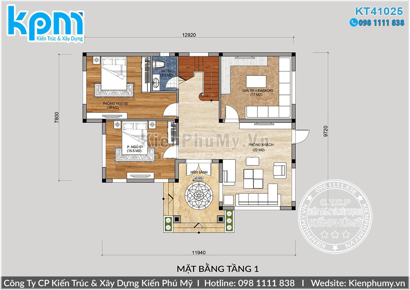 thiết kế biệt thự 2 tầng mái thái 120m2/sàn bao gồm 4 phòng ngủ