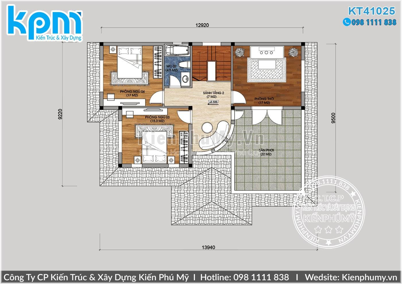 Thiết kế mặt bằng công năng tầng 2 mẫu nhà biệt thự mái thái 2 tầng
