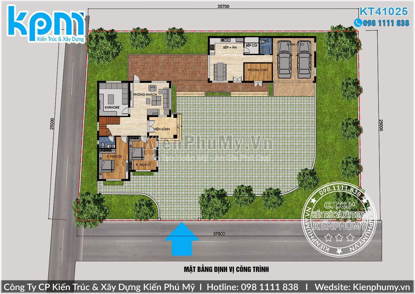 thiết kế tổng thể căn nhà biệt thự 2 tầng đẹp tại Thái Bình