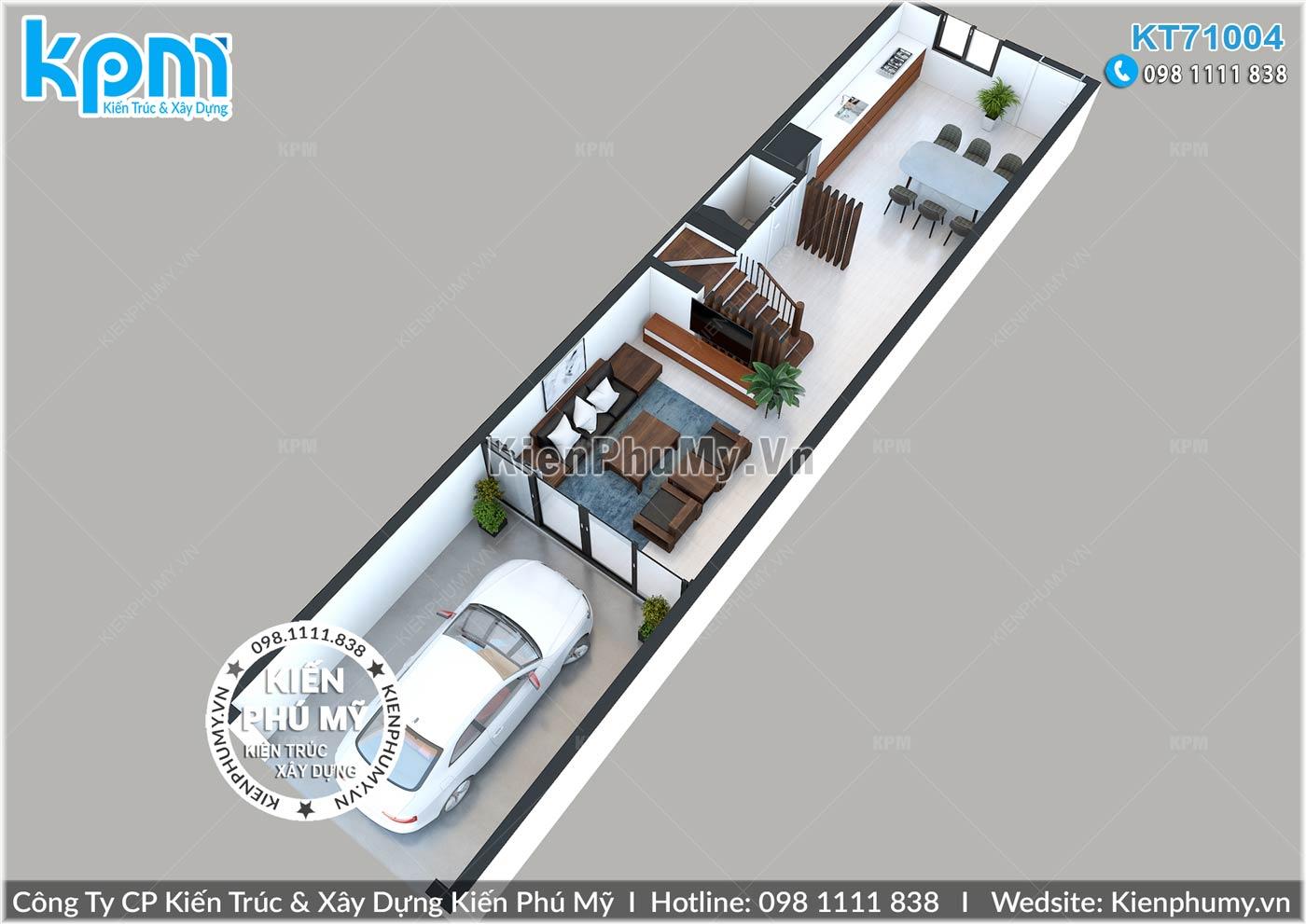 Thiết kế mặt bằng tầng 1 của mẫu nhà lô phố hiện đại 4.5x19m