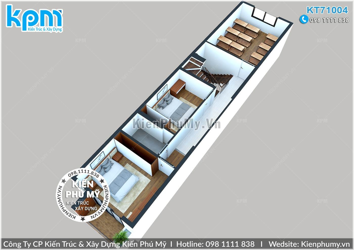 Thiết kế công năng tầng 3 mẫu nhà lô mặt tiền 4.5m