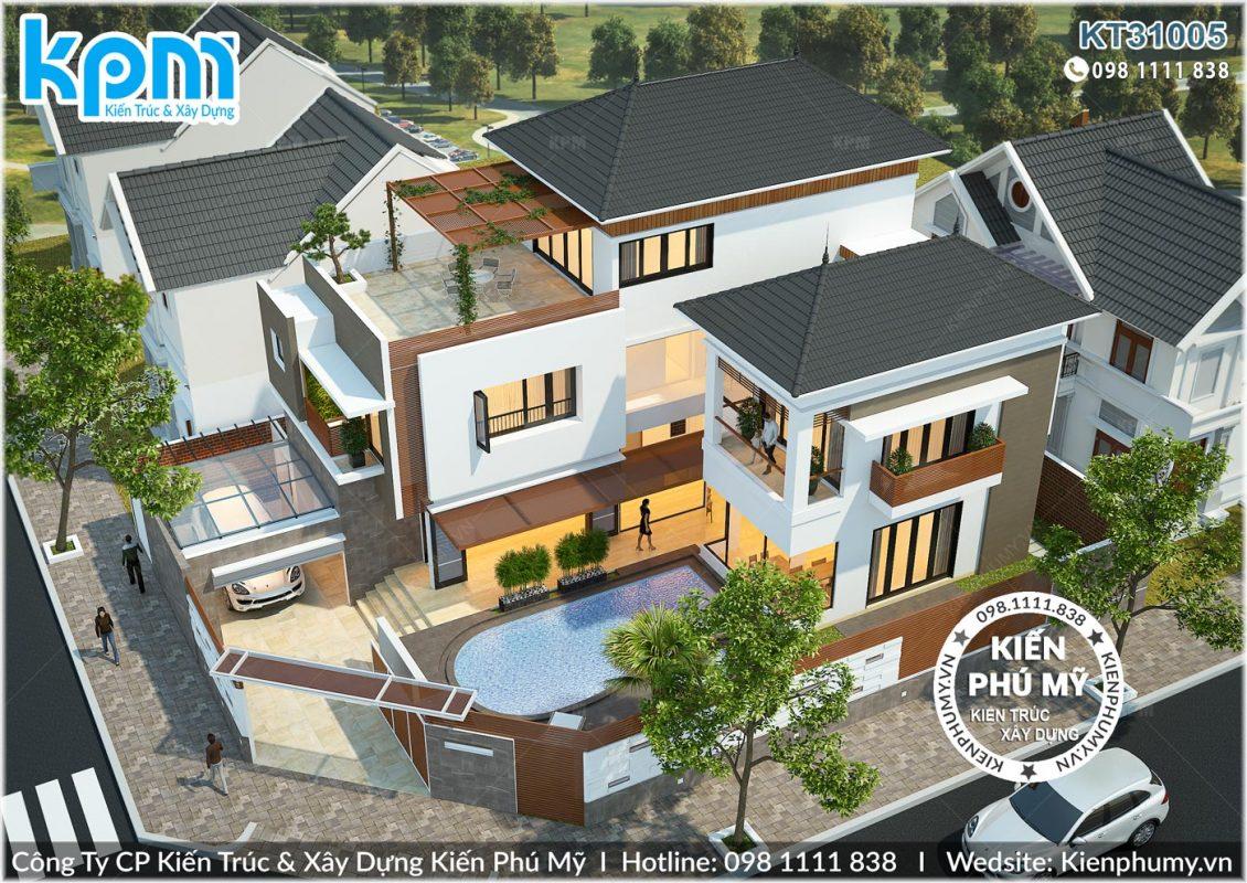 Biệt thự 3 tầng hiện đại kiến trúc mái thái đẹp