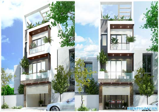 mẫu nhà lô phố mặt tiền 4.5m kiến trúc hiện đại