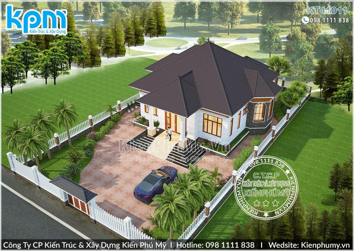 Mẫu nhà vườn mái thái 1 tầng hiện đại sở hữu 4 phòng ngủ rộng rãi