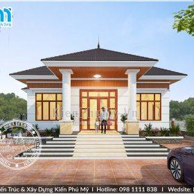 Thiết kế nhà vườn 1 tầng mái thái giá rẻ 4 phòng ngủ