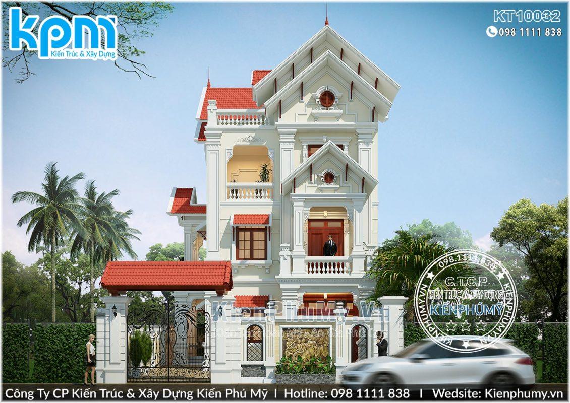 Thiết kế mặt tiền mẫu nhà biệt thự 3 tầng kiến trúc cổ điển