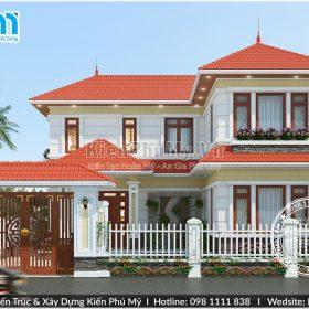 mẫu nhà 2 tầng chữ l diện tích 100m2 thiết kế mái thái hiện đại