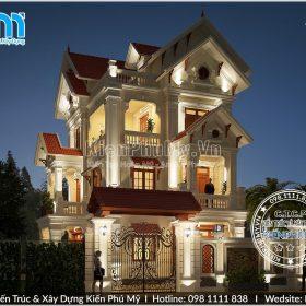 Thiết kế chiều sáng ban đêm cho căn nhà biệt thự 3 tầng 80m2